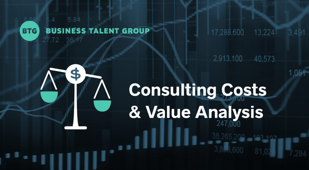 Consulting Costs and Value Analysis: On-Demand Talent Savings vs. Traditional Firms — Scale icon with dollar sign on background of financial graphs
