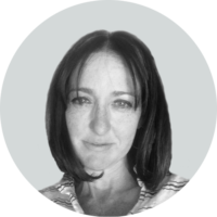 Black and white photo of Sarah Mcneilly - VP, Finance at Business Talent Group