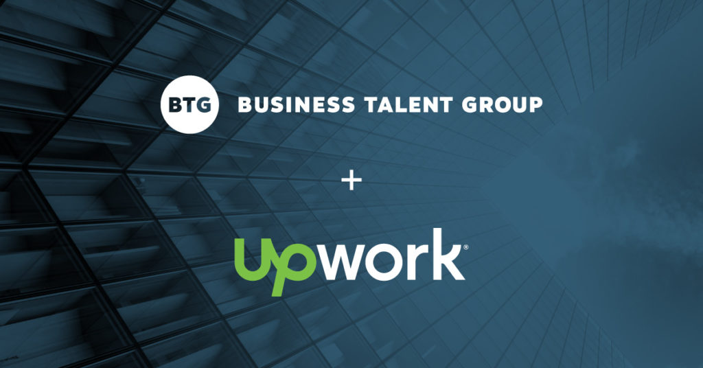 Business Talent Group and Upwork Logos over dark blue image of a skyscraper