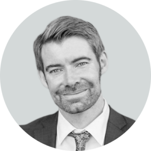 Black and white photo of Patrick Ryan - VP, Technology & Operations at Business Talent Group