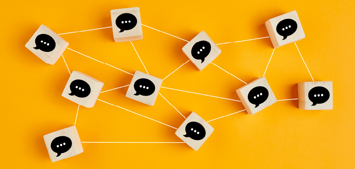 Virtual Networking How To Stay Connected In A Remote Work World - Wooden blocks with chat icons connected by string